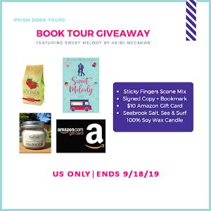 One winner will receive a signed paperback with bookmark, $10 Amazon gift card, Sticky Fingers Strawberry Scone mix and a Seabrook Sea, Salt and Surf 100% soy wax candle from Hometown candle company.