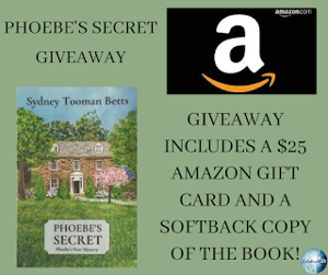 One winner will receive the grand prize package of $25 Amazon gift card and a softback copy of Phoebe's Secret!