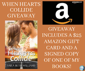 One winner will receive the grand prize package of a $25 Amazon gift card and a signed copy of the winner's choice of one of Sara's books!