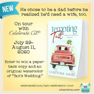 """One winner will receive the grand prize package of a paperback copy of Tempting Tait and an original watercolor of """"Tait's Wedding""""!"""