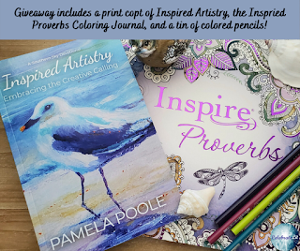 One winner will receive the grand prize package of Inspired Proverbs Coloring Journal, Tin of Colored Pencils, and a print copy of Inspired Artistry - Embracing the Creative Calling!