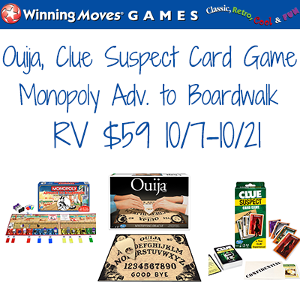 Ouija Classic, Clue Suspect & Monopoly Advance to Boardwalk Games
