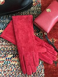 Pamela McCoy Crimson Red Long Suede Gloves with Faux Fur Lining