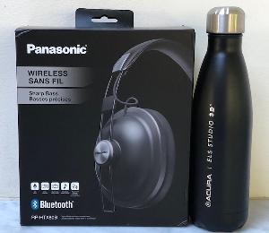 Panasonic wireless headphones and an ELS Acura water bottle