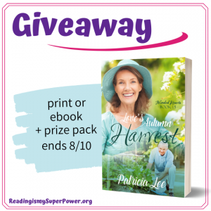 Patricia Lee is offering a prize pack of a copy of Love's Autumn Harvest (winner's choice between ebook or print), bookmarks and recipe cards from Eily McKintrick's kitchen, and an 11oz mug with the four covers of the Mended Hearts series printed on them!