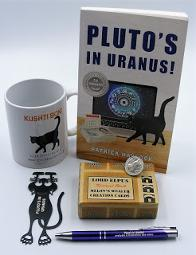 Prize includes: A kushti Bok Mug, A signed copy of Pluto's in Uranus, A pack of 50 Lord Elpus Melon's wealth creation cards, A black cat bookmarker, An engraved pen, and a lucky silver Manx cat coin!!