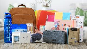 Prize includes Kamri's Bostanten leather backpack, Apple AirPods Pro, AirPods Pro carrying case, USB charging cable, face mask, hand sanitizer bottle and carrying case, chapstick case, water bottle, sticker set,  2 5-Star notebooks,...+ lots more...