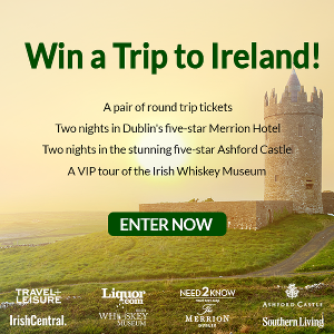 prize information of winning a trip to Ireland