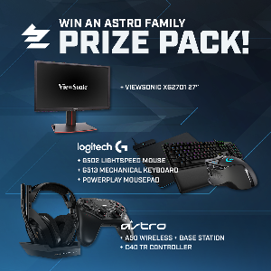"Prize(s):  ASTRO C40 TR Controller;  ASTRO A50 Wireless + Base Station;  Logitech G502 LIGHTSPEED Mouse ; Logitech G513 Mechanical Keyboard;  Logitech POWERPLAY Mousepad ; Viewsonic XG2701 27"" Monitor"