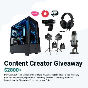 Prizes= Gaming PC ; Video Light and Stand Kit; Logitech BRIO Webcam; Blue Yeti Microphone;Logitech PRO X Gaming Headset;  1 Year Long Premium Subscription for:Streamlabs /Melon/Oslo!