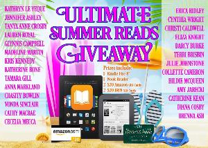 Prizes include: ​  1 Kindle Fire - 1 winner ; 1 Nook Reader - 1 winner ; 2 $20 Amazon gift cards - 2 winners ; 2 $20 B & N Gift cards - 2 Winners.