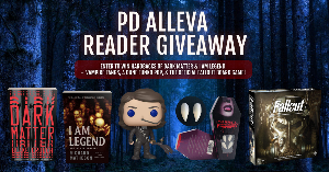 Prizes include hardbacks of Dark Matter by Blake Crouch & I Am Legend by Richard Matheson + vampire fangs, a Dune Funko pop, & the official Fallout board game!
