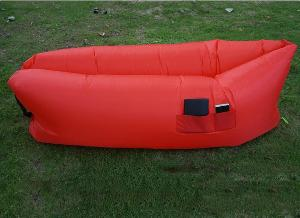 red inflatable outdoor lounger