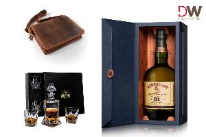 Redbreast leather satchel, decanter and 4 piece crystal set, bottle of 21 year old Redbreast Whiskey