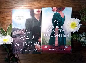 Signed paperback copies of The War Widow and The Antique Dealer's Daughter by Lorna Gray