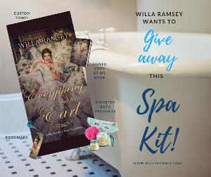 Signed paperback copy of Everything but the Earl, beach towel, bookmark and package of assorted bath products from Willa Ramsey