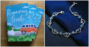 Signed paperback copy of Runaway Bride by Mary Jayne Baker & stunning Swarovski crystal bracelet