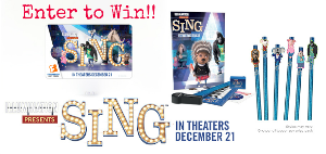 SING! Prize Package including a $25 Fandango gift card to see the film in theaters with your family and a Stationary Set & Pencil with Topper