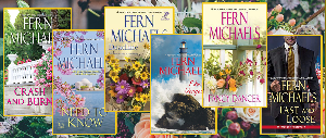 Six Fern Michaels Books and a Kate Spade bag