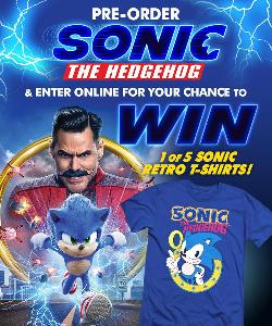 Sonic the hedgehog movie t-shirt, sweepstakes promotional posture