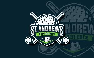 st andrews experience logo, gofl ball with crossed drivers behind it