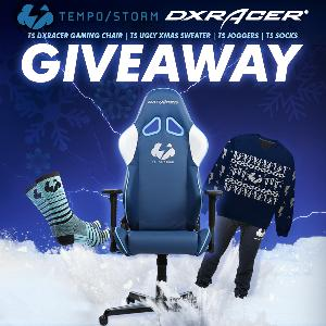 Tempo Storm DXRacer Gaming Chair, Ugly Xmas Sweater, Joggers, & Socks