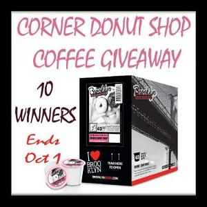 Ten lucky readers will get energized when they WIN a 40 ct box of Brooklyn Bean Corner Donut Shop Coffee for their K-Cup Machine.