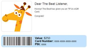 The Beat: $250 Toys R Us E-Gift Card
