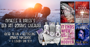 The grand prize will be one paperback of Blood Brothers by Nora Roberts, one paperback of Immortal by J.R. Ward, one paperback of It Ends with Us by Colleen Hoover, one paperback of Dark Prince by Christine Feehan, plus one luxury spa-day gift basket.