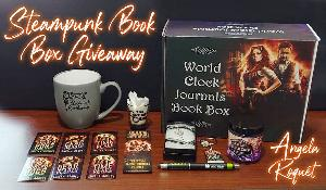 The loot includes: a Clockwork Apothecary mug, a Greasy Gear shot glass, a Crystal Cavern scented candle, a key pendant necklace, a Cursed Cogs 3D book keychain, 3 flat cover magnets, 3 cover stickers, a bookmark, and a pen--all tucked inside a fancy box!