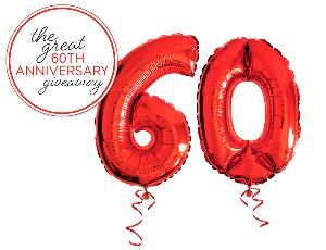the number 60 made up of two ballons