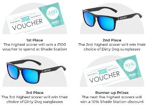 The prizes available from the Shade Station Dirty Dog competition