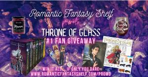 """The Throne of Glass #1 fan prize pack includes: Throne of Glass hardcover box set by Sarah J. Maas, Rattle the Stars rose gold necklace, Dorian Havilliard padded book sleeve, """"Fire Breathing Bitch Queen"""" wine glass...+more..."""