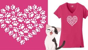 The Tiniest Tiger Cat Paw Heart T Shirt Giveaway