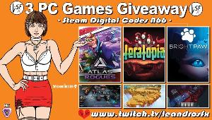 """This is a giveaway for 3 Pc (steam) Games, good luck to all: Game """"Atlas Rogue"""" (Steam); Game """"Teratopia"""" (Steam) & Game """"Bright Paw"""" (Steam)!!"""