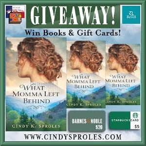 THREE WINNERS. 1st: Copy of What Momma Left Behind +$20 B&N Gift Card; 2nd: Copy of What Momma Left Behind + $5 Starbucks Gift Card; 3rd: Copy of What Momma Left Behind!