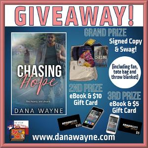 Three Winners: GRAND PRIZE: Signed Copy & Swag including: fan, tote bag, and throw blanket. 2nd PRIZE: eBook & $10 Amazon Gift Card; 3rd Prize: eBook & $5 Amazon Gift Card