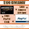 $100 Amazon Gift Card or Paypal Cash Giveaway