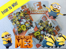 Despicable Me 3 prize pack including a $25 Fandango gift card to see Despicable Me 3 in theaters June 30 plus two Despicable Me Mega Construx Micro packs