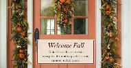 door with fall decorations