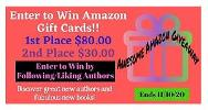 First prize= $80 Amazon Gift Card & 2nd prize= $30 Amazon Gift Card!!