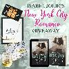 One reader will win a wine glass , an NYC skyline necklace and print, an Amazon gift card, and a zippered bag!