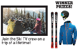 skis and pic of 3 people on a ski hill