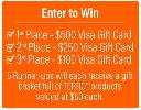 Win a $500, $250 or $100 Visa Gift Card