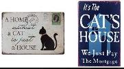 win your choice of our new metal vintage-style signs for cat lovers!