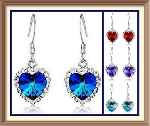 Titanic Crystal & Rhinestone Heart Earrings