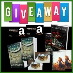 Two (2) winners will each win one $100 Amazon.com Gift Card & Two (2) winners will each win a set of autographed books, a notebook, and silver jewelry!