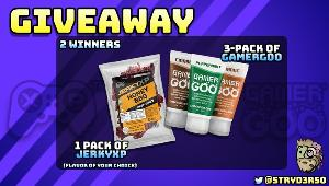 TWO LUCKY WINNERS WILL RECEIVE.. 1x Bag of JerkyXP jerky any flavor & 1x Trial Pack of GanerGoo