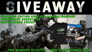 Two will be selected to receive the following prize pack!  :Call of Duty Modern Warfare Standard Edition; Juggernaut Energy Tub; United Rogue shirt