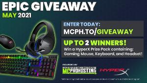 TWO WINNERS WILL RECEIVE:A HyperX Prize Pack Including:   Pulsefire Core RGB Gaming Mouse, Alloy Origins Keyboard & Cloud Stinger Wireless Headset!!